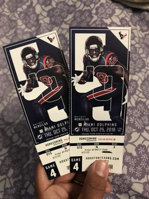 2 tickets Texans Dolphins for Sale in Houston, TX
