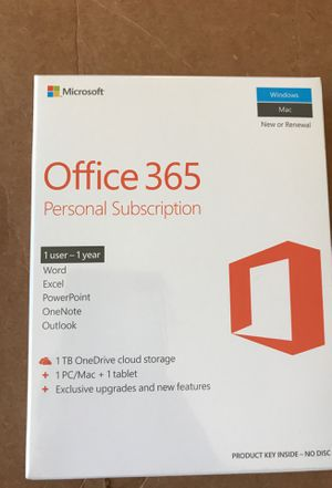 Brand new 1 year Office 365 personal version, 1 user for Sale in Los Angeles, CA