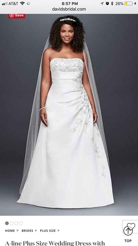 A Line Plus Size Wedding Dress Ivory Lace Up Back For Sale In