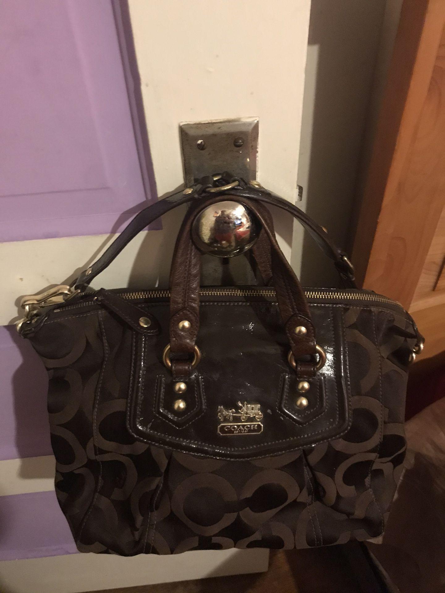 Coach Madison Op Art Audrey Khaki/Dark Brown Bag
