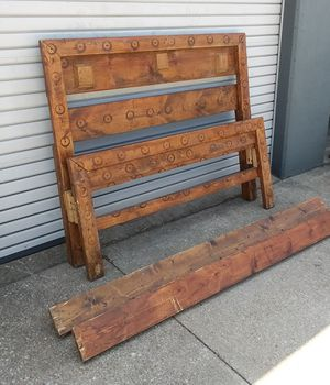 Rustic Pine Queen Bed Headboard Footboard Rails Great Repurpose Piece For Sale In Fort Worth