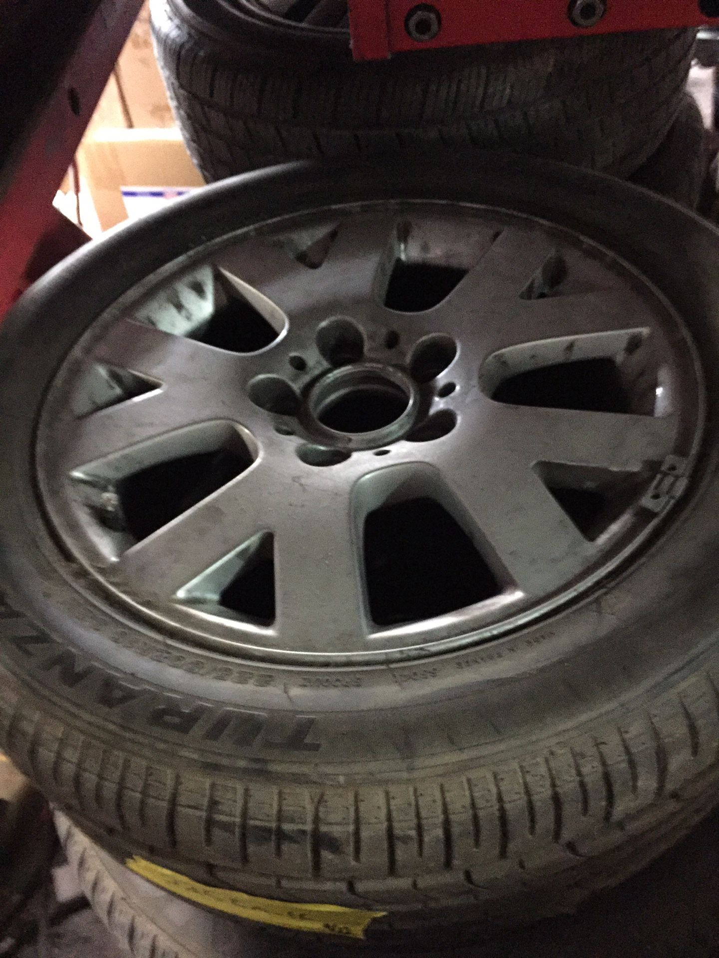 """Bmw 3 series 16"""" rim and 225-50-r 16 tire never used $220obo"""