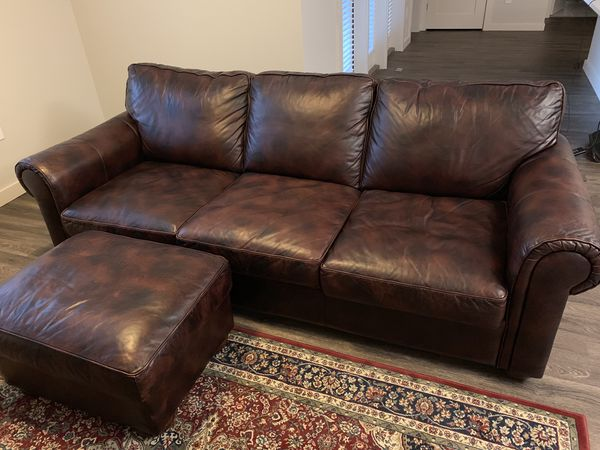 Cool Gramercy Park Saddle Leather Two Tone Sofa With Ottoman For Ocoug Best Dining Table And Chair Ideas Images Ocougorg