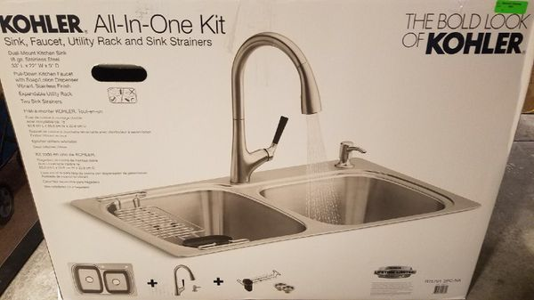 Kohler all in one kitchen kit stainless steel sink and pull down ...
