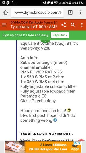Alpine TYMPHANY LAT 500 ACTIVE SUBWOOFER for Sale in Denver, CO - OfferUp