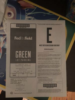 Parking pass redskins vs colts home opener for Sale in undefined