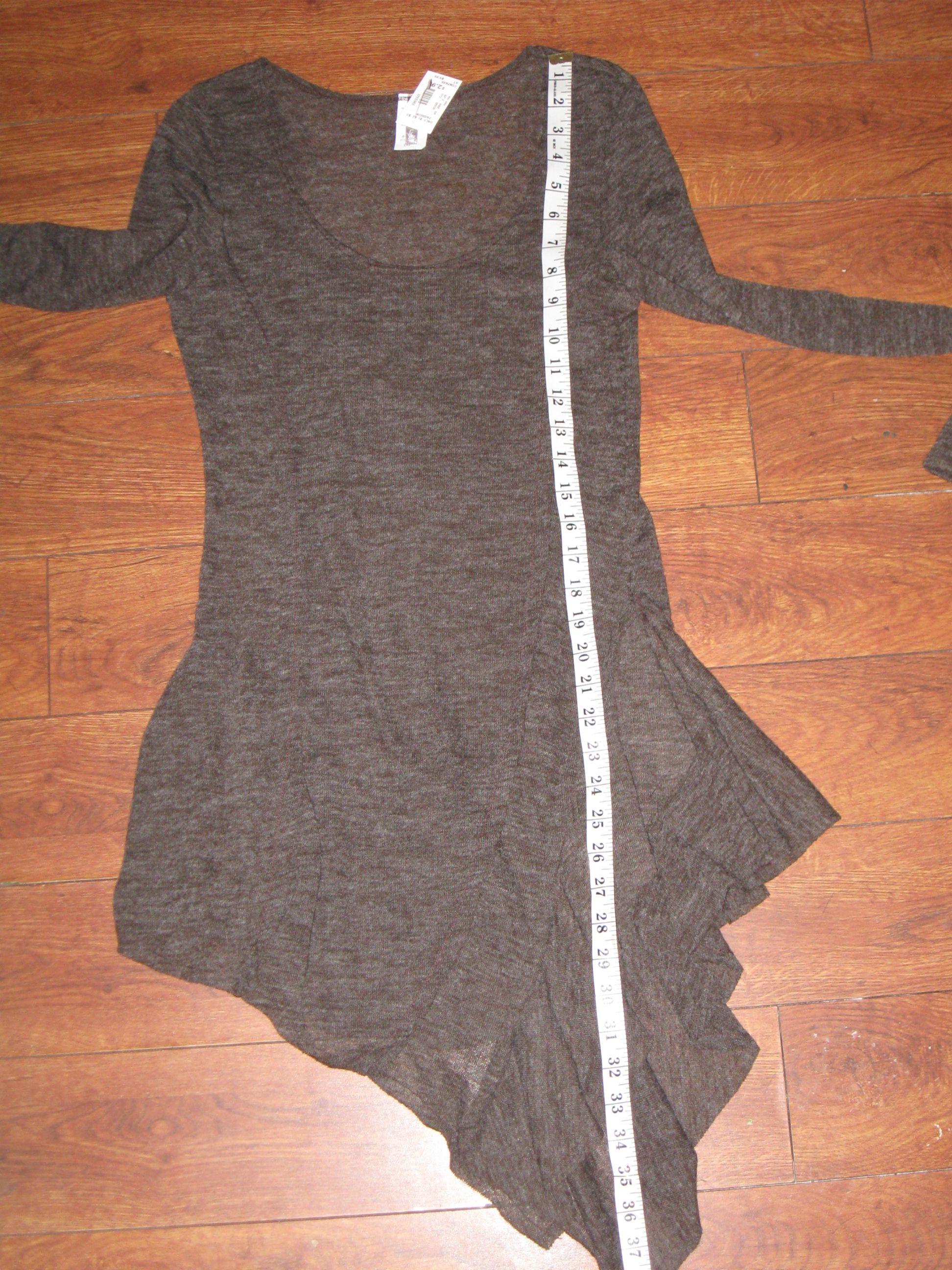 POINT Womens' Brown Knit Summer Long Sleeve Assymetic Hem Dress Tunic Sz S/M (L), NEW