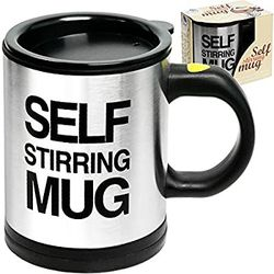 Self Stirring Coffee Mug Cup - 400ml Automaticl Electric Stainless Steel Self Mixing & Spinning Home Office Travel Mixer Cup Thumbnail