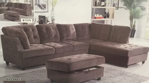 Photo New espresso corduroy sectional couch with storage ottoman