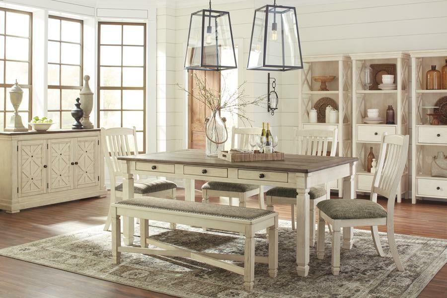 Bolanburg Antique White/Oak Dining Room Set | D647 ASHLEY