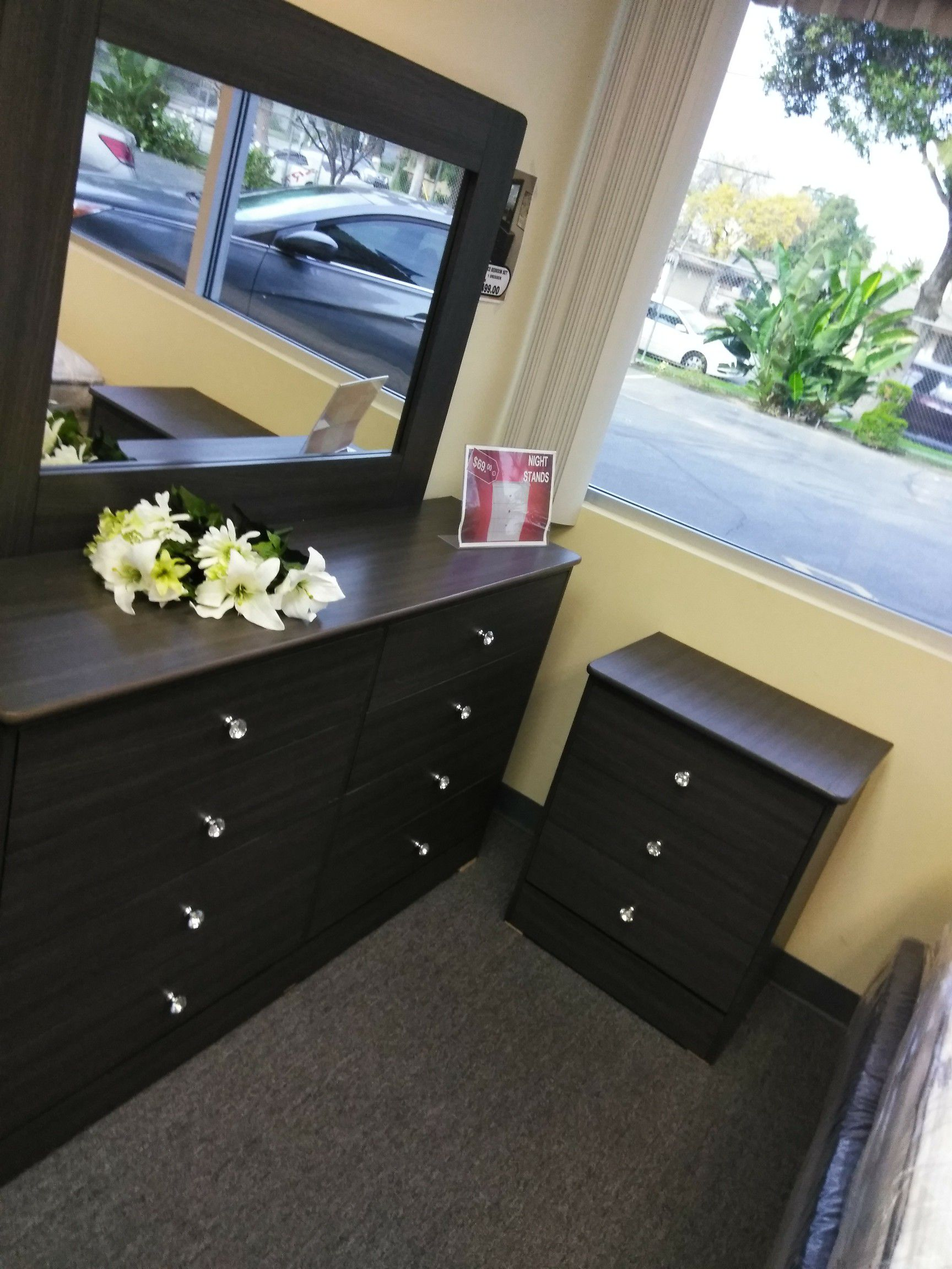 Dresser with mirror and NightStand