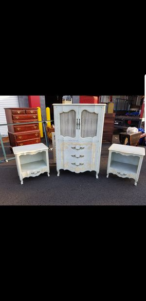 John Widdicomb French Provencial chest, 2 night stands and king size head board with metal frame for Sale in Chantilly, VA