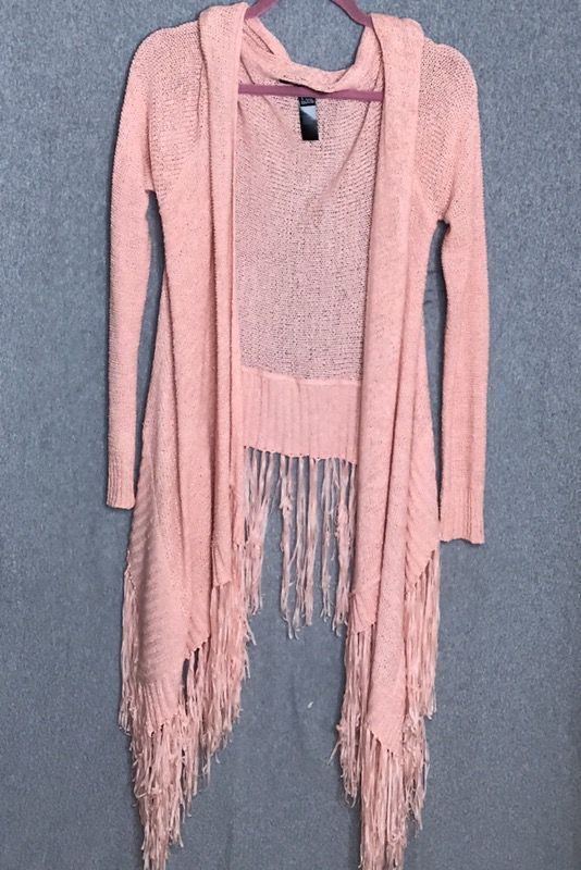 Peachy pink fringe cardigan