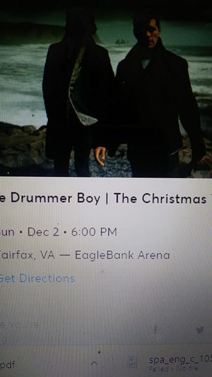 4 tickets to For king and country event. for Sale in Rockville, MD