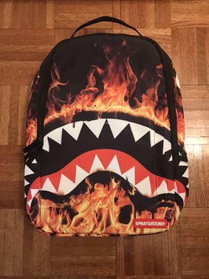 Brand New Sprayground Fire Shark Backpack With Origjnal Tag, Sticker,& Reflective Picture Card! Discontinued By Manufacturer for Sale in New York, NY