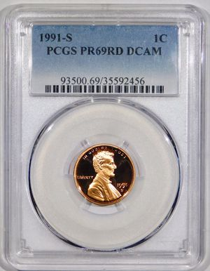 Photo 1991-S Lincoln Cent Proof PCGS PR-69 RED DCAM