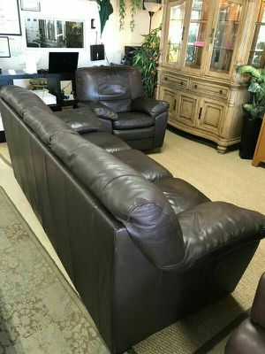 Dark Brown Leather Sofa Couch and Swivel Rocking Armchair - Made in Italy! for Sale in Oakland Park, FL