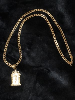 Curb Cuban link diamond cut GOLD PLATED Necklace With Square Jesus Charm for Sale in Orlando, FL