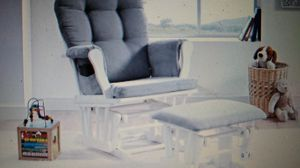 Photo Angel Line Windsor Glider and Ottoman White Finish and Gray Cushions