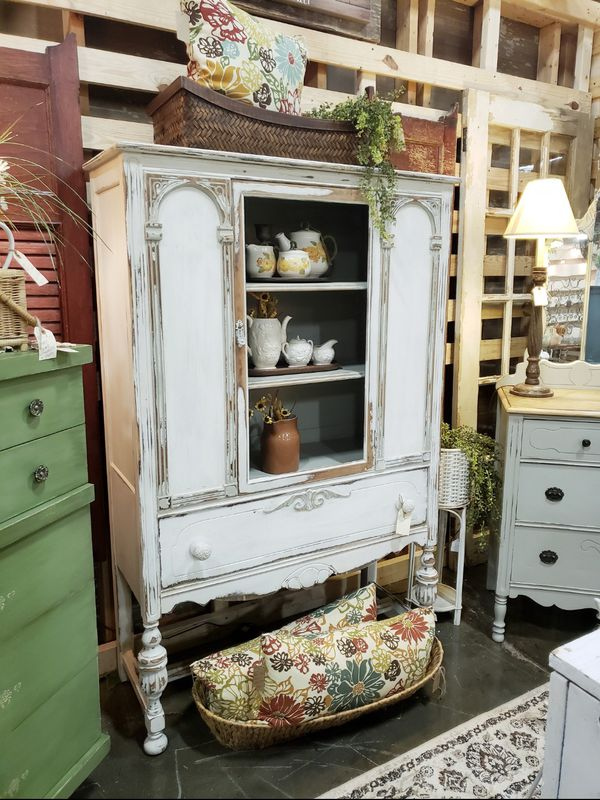 Vintage Farmhouse China Cabinet Cupboard Hutch