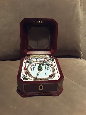 Antique wood music box with ice skaters that move for Sale in Houston, TX