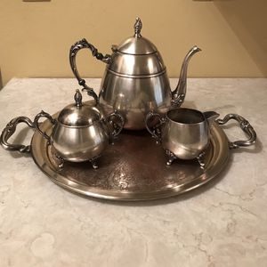 Photo Antique marked silver on copper tea pot or coffee set, creamer, sugar bowl and tray