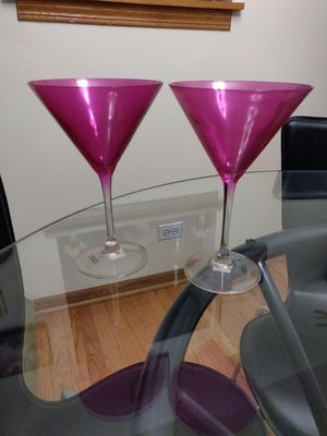 Photo Set of 2 pink Crate and Barrel martini glasses