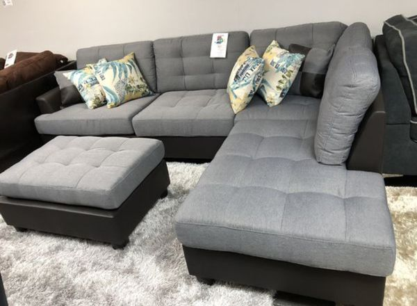 Brand New Grey Linen Sectional Sofa Couch + Ottoman for Sale in Laurel, MD  - OfferUp
