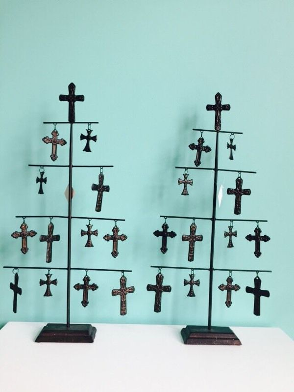 Pick 1 Vintage Look Cast Iron Religious Christian Cross 24 In W X 11 In W Christmas Tree Shaped With Religion Cross Total 13 Crosses Made Of