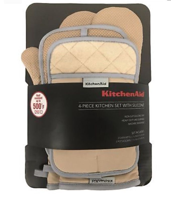 KitchenAid 4 Piece Kitchen Set w/ Silicone 2 Oven Mitts, 2 Pot Holders