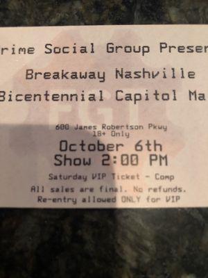 Breakaway Nashville VIP Tickets for Sale in Nashville, TN
