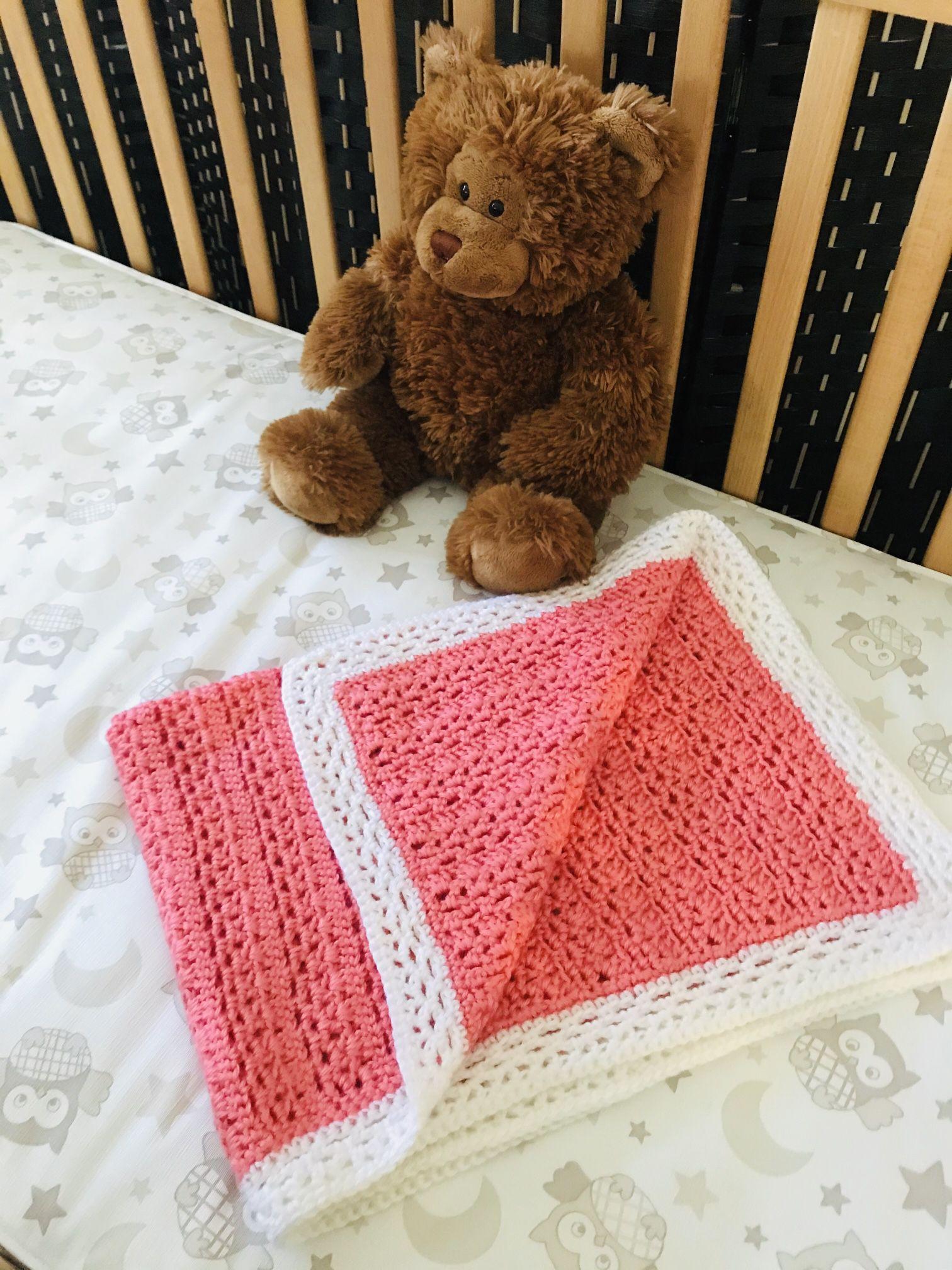 Handmade Baby Blanket Crochet In Coral