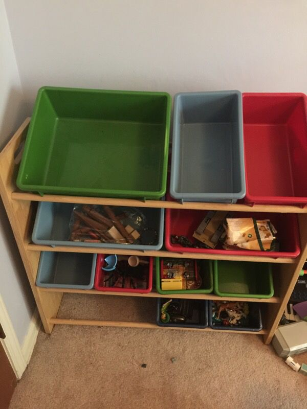 Battat wooden toy storage shelf with plastic bins ( toys not