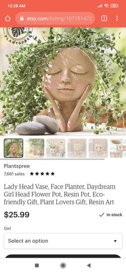 """2 Head Faces Pots. Etsy Picture As Reference. 6,""""X5"""". Price For Both With Saucers Thumbnail"""