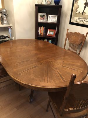 Wood table with leaf and 4 chairs for Sale in Arlington, VA