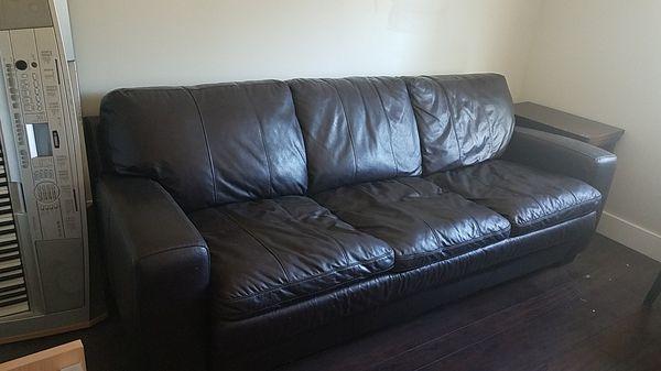 3 Seat Leather Sofa Sleeper - Queen Mattress for Sale in Phoenix, AZ -  OfferUp