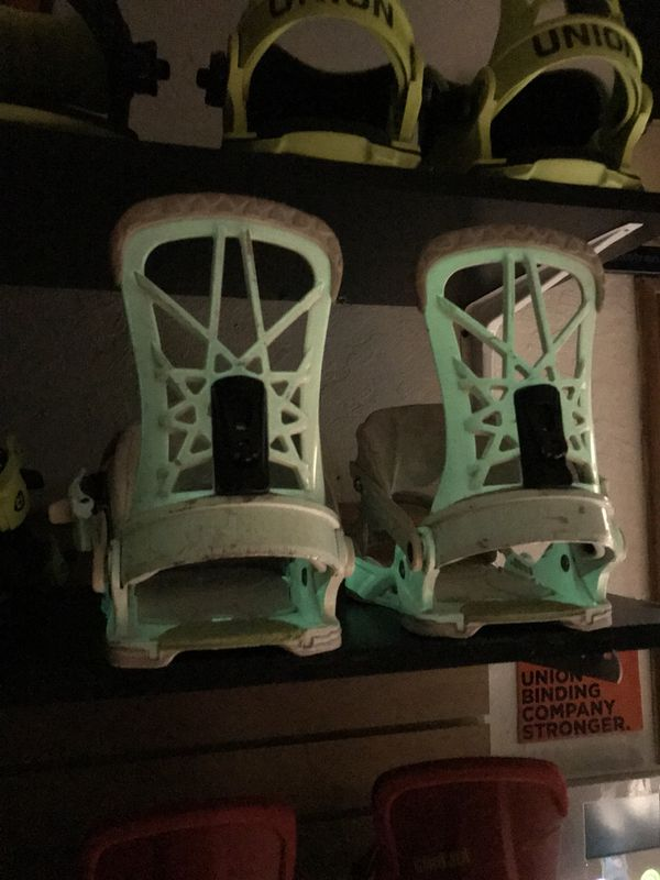 Union glow in the dark super pro snowboard bindings for Sale