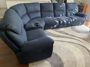 Photo Rooms to Go blue recliner sectional couch