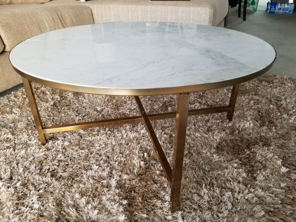 Luxe White Marble And Gold Coffee Table For Sale In Hollywood Fl