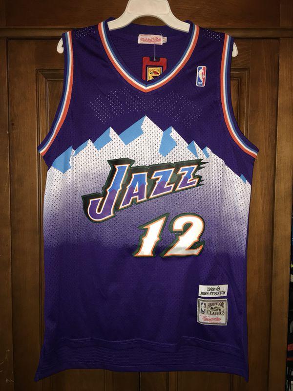 8a5ca311352 John Stockton Utah Jazz L jersey purple retro vintage for Sale in ...