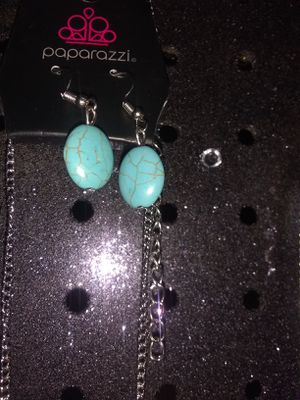 Turquoise crackle Stone necklace with matching earrings Paparazzi jewelry for sale  Tulsa, OK
