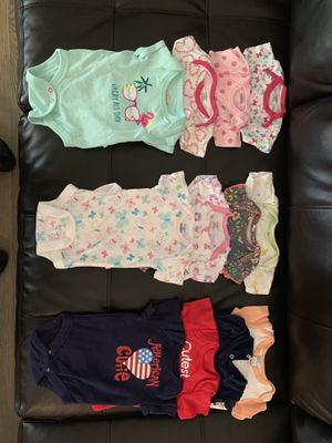 Lightly worn baby girl clothes. Onesies, sleepers, sweaters, dresses, and shoes. Clothes sizes 0-12 months and shoes sizes 1 & 2. for Sale in Reynoldsburg, OH