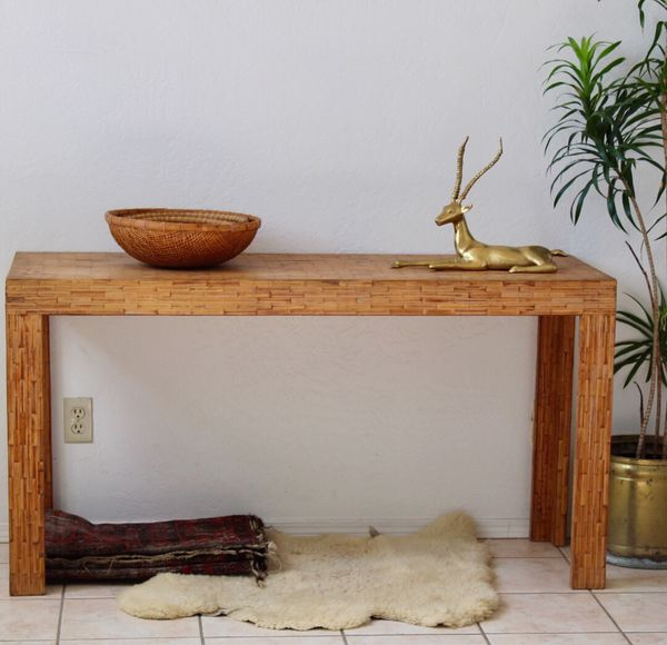 Vintage Bamboo Rattan Long Entry Way Sofa Table Tv Stand Wicker Boho Mid Century Dresser Credenza Wood