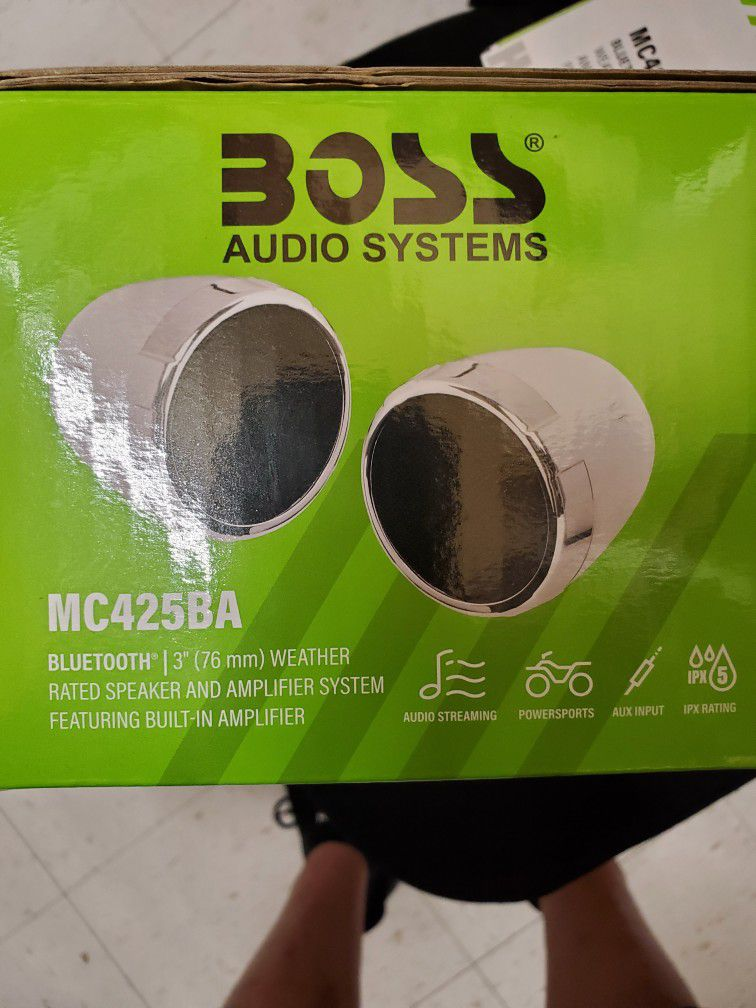 BOSS AUDIO SYSTEM SPEAKER FOR MOTORCYCLE, FOURTRACK, POLARIS OR CAN AM WATER PROOF