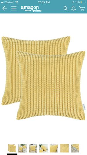 20x20 inch pillow covers in yellow/gold (set of 2) for Sale in San Francisco, CA