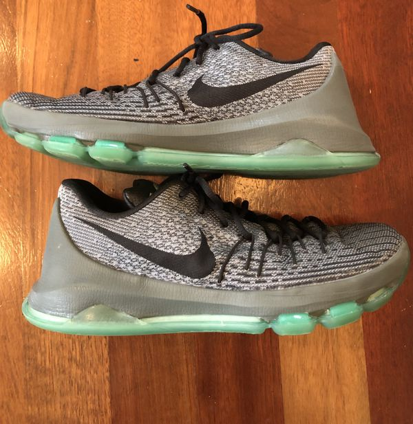new concept 8f4a8 75624 Nike KD 8 Men s 10.5 Night Silver Deep Pewter, Tumble Grey, Green Glow