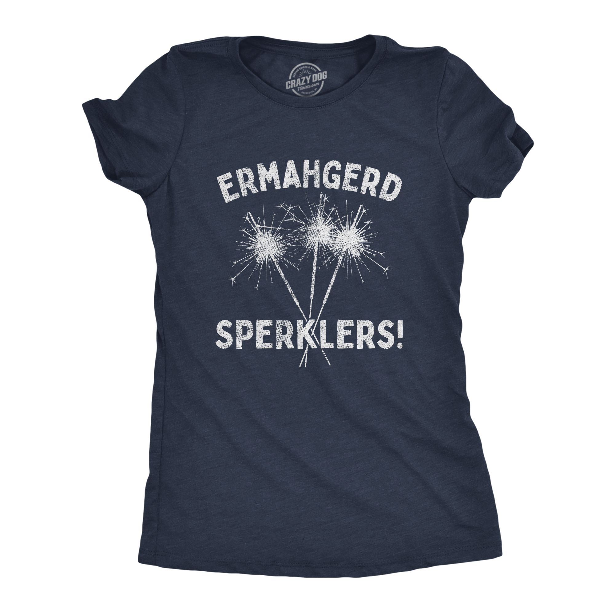 Womens Ermahgerd Sperklers Tshirt Funny 4th of July Fireworks Sparklers Graphic Novelty Tee (Heather Navy) - L