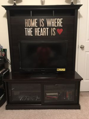 Espresso entertainment stand (w/ option to mount tv) for Sale in Charlottesville, VA