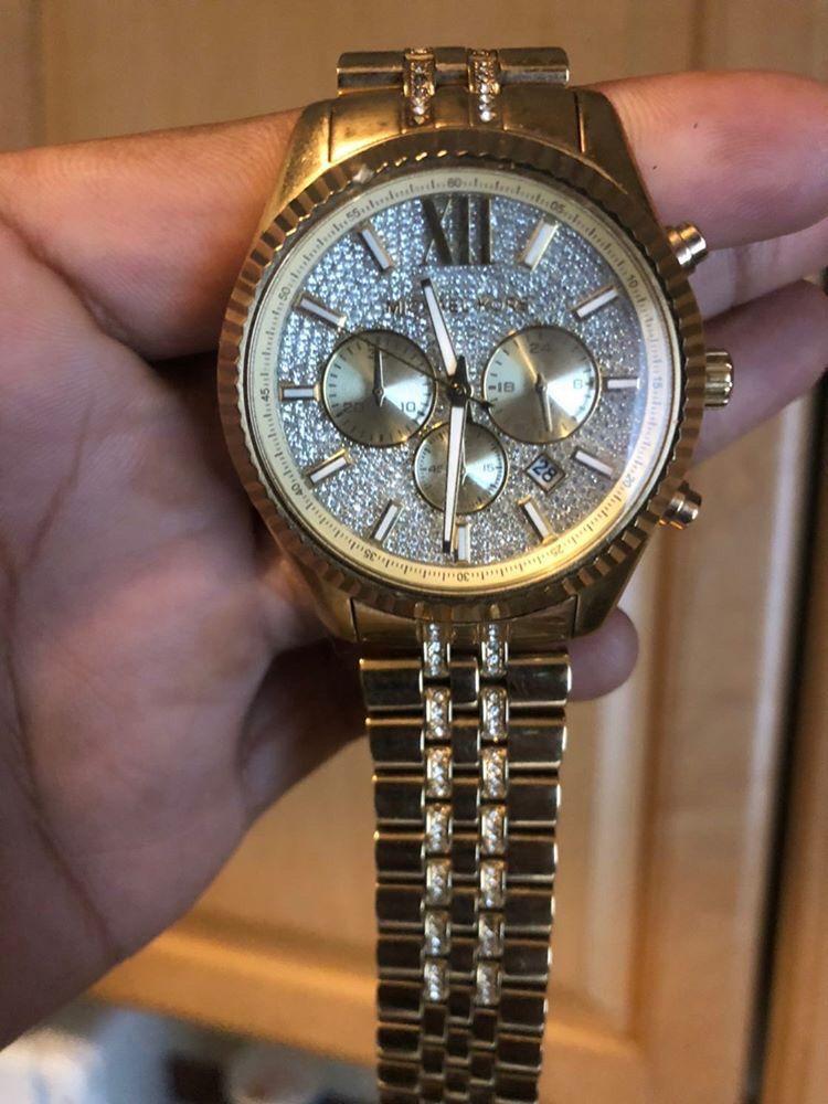 Michael Kors Men's Analog-Quartz Watch with Stainless-Steel Strap, Gold, 22 (Model: MK8579)