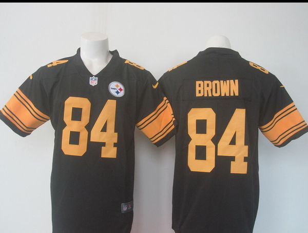 40094f4fa Antonio Brown  84 Pittsburgh Steelers Black Color Rush Jersey Size ...